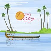 image of onam festival  - Poster of snake racing boat in the river with sun style text of onam and tree - JPG