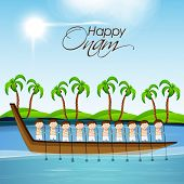 foto of tree snake  - Illustration of South Indian people taking part in Snake Boat Racing in at river with coconut trees on the sceneric view - JPG