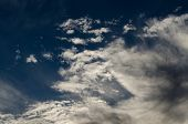 picture of wispy  - Blue skies with big white wispy clouds - JPG