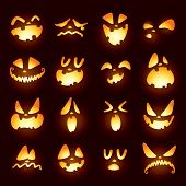 stock photo of jack o lanterns  - Jack O Lantern faces - JPG