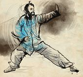 picture of tai-chi  - An hand drawn full sized illustration  - JPG