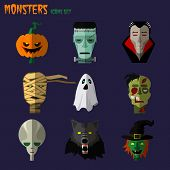 image of frankenstein  - Halloween monster set of icons pumpkin - JPG