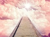 picture of stairway to heaven  - Blue sky with sun and beautiful clouds - JPG