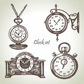 picture of pendulum clock  - Hand drawn set of clocks and watches - JPG