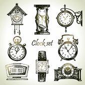 stock photo of pendulum clock  - Hand drawn set of clocks and watches - JPG