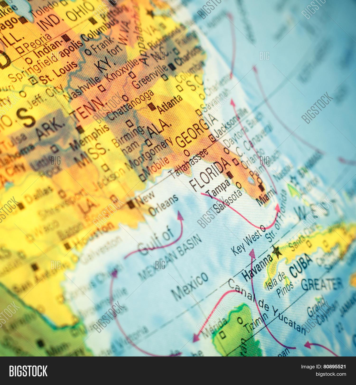 Map South East USA Closeup macro image of map Southeast America – Map Usa East