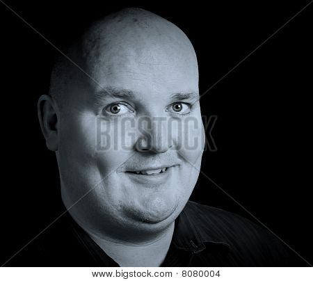 Close Up Picture Portrait Of An Overweight Male