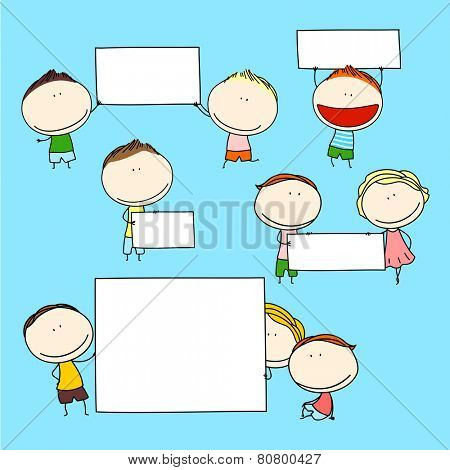 Child's drawing of happy kids with banners (raster version)