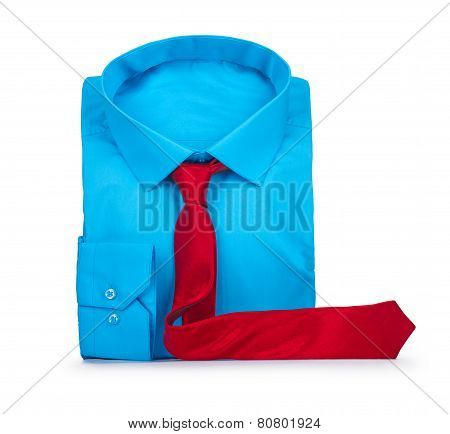 Blue Shirt And Red Tie On A White Background. Business Concept