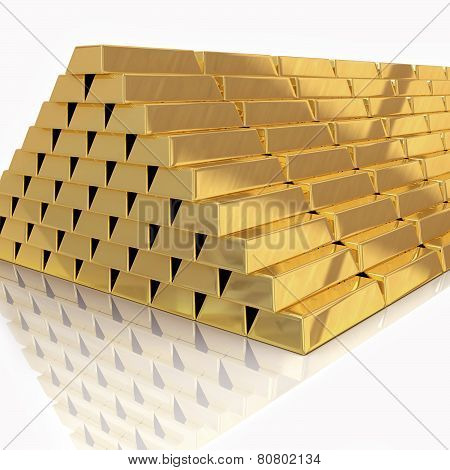 Golden Bars Pyramid Isolated On White With Reflection