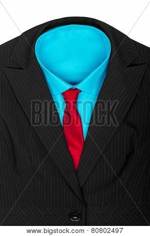 Formal Suit: Black Jacket Blue Shirt And Red Tie