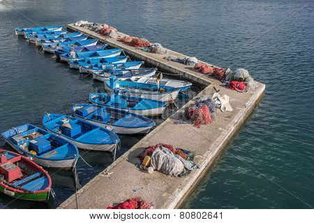 Fishing Boats And Nets On A Pier In Gallipoli
