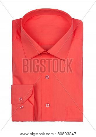 Folded Red Shirt On A White Background