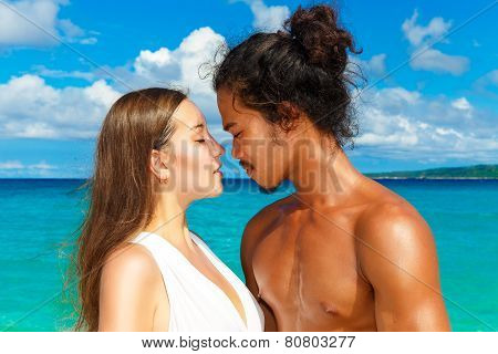 Just Married Couple Having Fun On The Tropical Beach