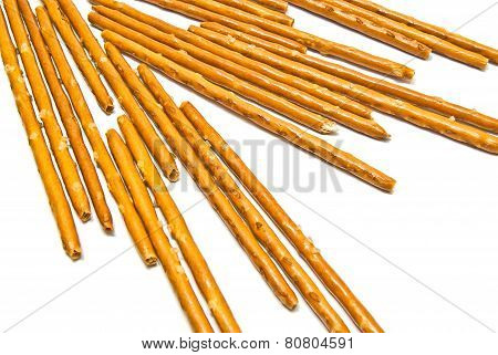 Salted Breadsticks On White