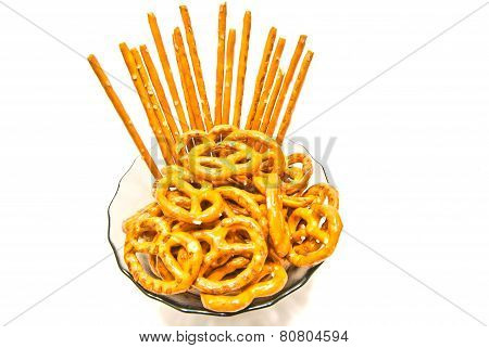 Some Tasty Salted Pretzels And Breadsticks
