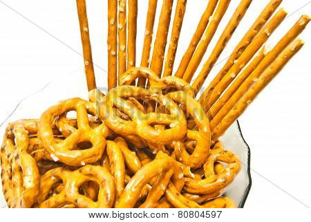 Tasty Pretzels And Breadsticks On A Plate