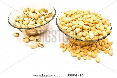 Two Dish With Nuts Closeup