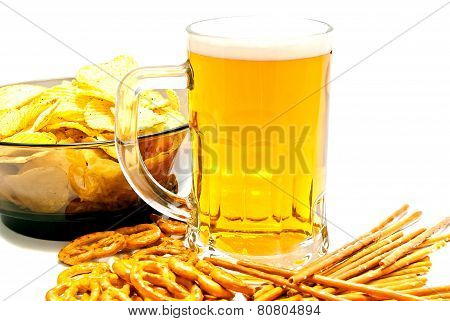 Tasty Pretzels, Breadsticks, Chips And Beer