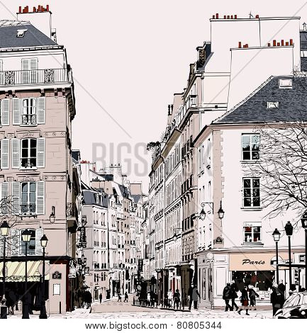 Paris - Street in Saint Germain - vector illustration