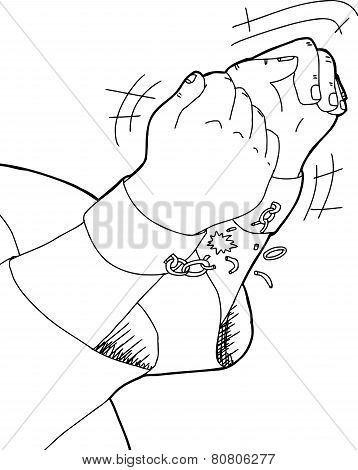 Outline Of Hands Breaking Shackles