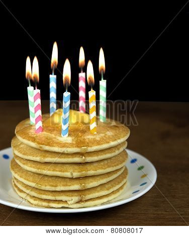 candles on pancakes