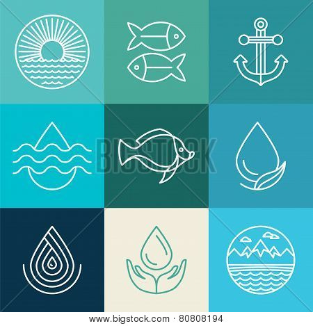 Vector Water Line Icons And Logos