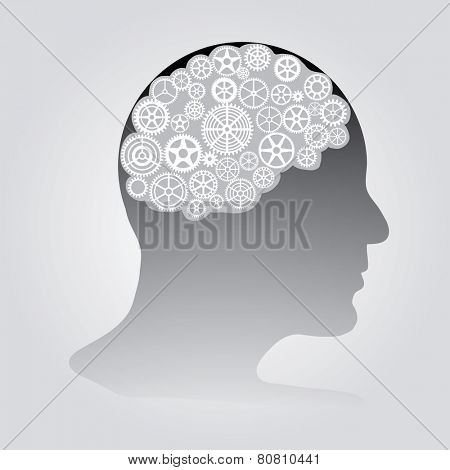 vector human profile with gears brain
