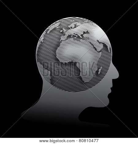vector halftone linear raster globe on human head