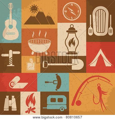 Retro camping icons set. Vector icons