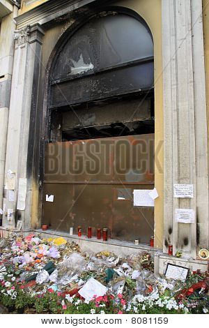 Athens Greece Bank Fire And Protests