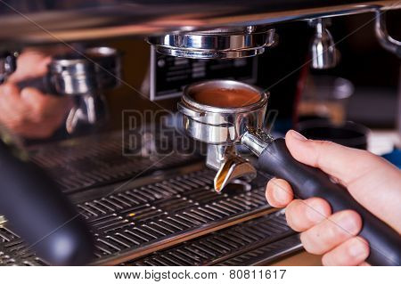 Close-up Of Making Coffee.