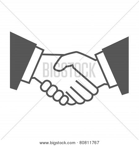 Gray Handshake Icon on White Background. Vector