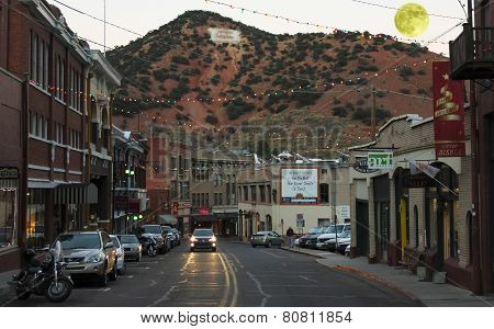 A Full Moon In Bisbee During The Holidays