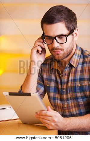 Man Concentrated On Work