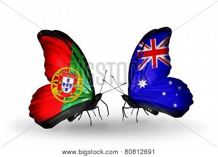 Two Butterflies With Flags On Wings As Symbol Of Relations Portugal And Australia