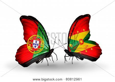Two Butterflies With Flags On Wings As Symbol Of Relations Portugal And Grenada