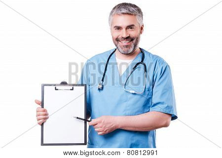 Doctor Pointing Clipboard.