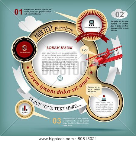 Vintage Web design with red old airplane. Retro design template. Vector Illustration