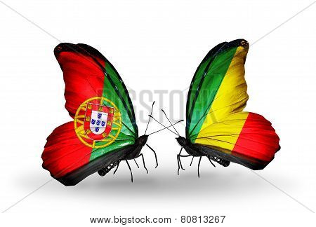 Two Butterflies With Flags On Wings As Symbol Of Relations Portugal And Kongo