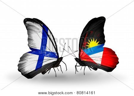 Two Butterflies With Flags On Wings As Symbol Of Relations Finland And Antigua And Barbuda