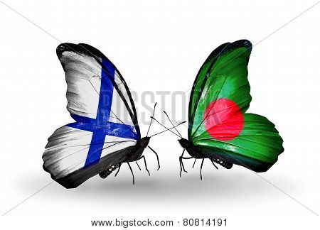 Two Butterflies With Flags On Wings As Symbol Of Relations Finland And  Bangladesh
