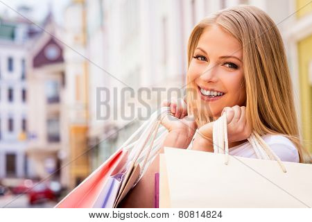 Happy Shopaholic Girl.