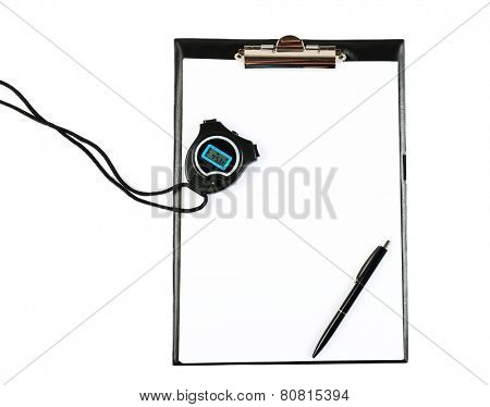 Clipboard with stopwatch and pen isolated on white