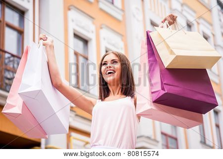Happy Woman After Day Shopping.