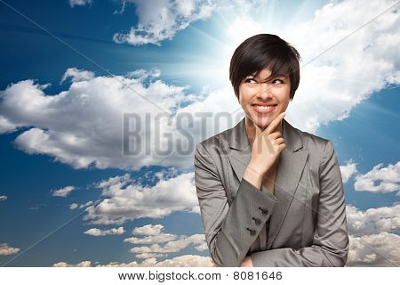 Pretty Multiethnic Young Adult Woman Over Clouds
