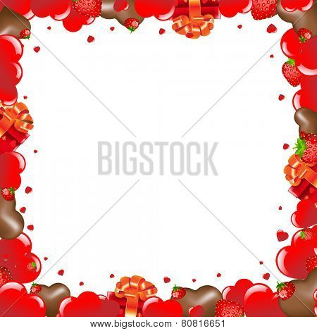 Valentines Day Borders With Gradient Mesh, Vector Illustration