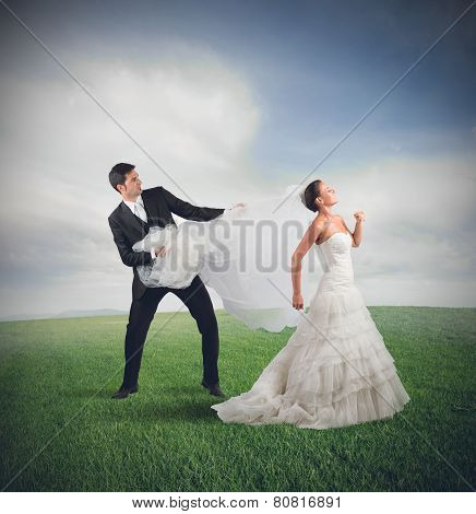 Bride runs away