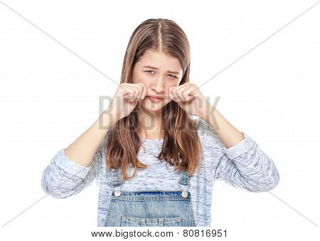 Crying Young Teenage Girl In Jeans Overalls Isolated