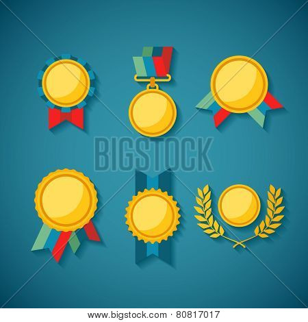 Set Of Vector Golden Awards For Rewarding Ceremony Decoration And Distinction